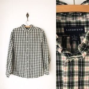 Lands End Button Down Green Plaid Shirt Thick L
